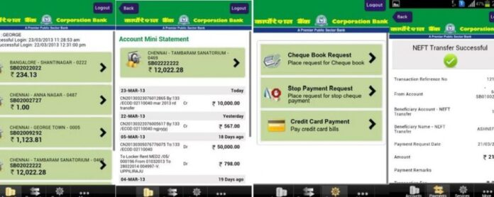 corporation bank mobile banking application for android